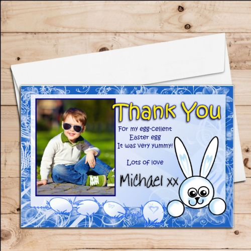 10 Personalised Boys Happy Easter Egg Thank you Photo Post Cards N9